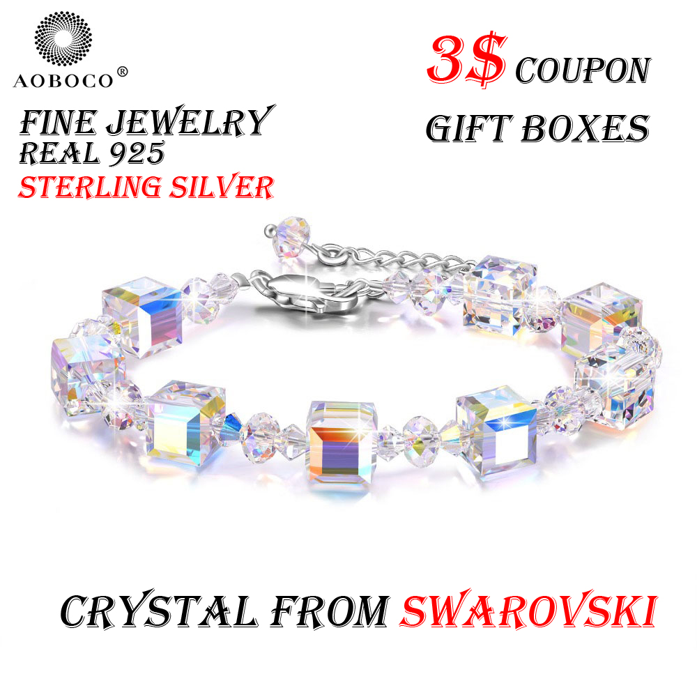 AOBOCO Bracelet Embellished With Crystal From Swarovski 925 Sterling Silver Charm Bracelet Bangle S925 Jewelry Mother's Day Gift
