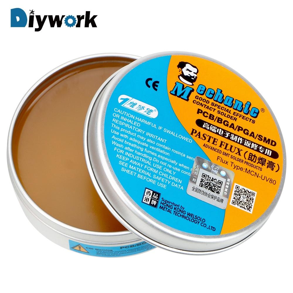 DIYWORK MCN-UV80 Paste Flux No-clean Soldering Tin BGA Solder Flux Electric Soldering Iron Welding Fluxes For PCB/BGA/PGA/SMD