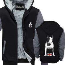 Mens ภาษาอังกฤษ Bull Terrier หนาขนแกะ hoody hoodies อุ่นฤดูหนาวชายเสื้อยูโรขนาด Made In England EBT bully