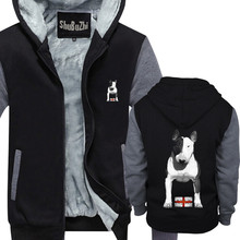 Mens English Bull Terrier men thick fleece hoody warm hoodies winter jacket male coat euro size Made In England EBT Bully