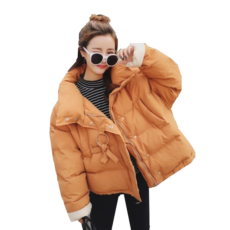 New Korean version thick short section down jacket cotton 2017 winter new large size loose students bread clothes cotton jacket 2017 winter version of the new south korean edition of cotton dress short dress and a large size cotton padded jacket