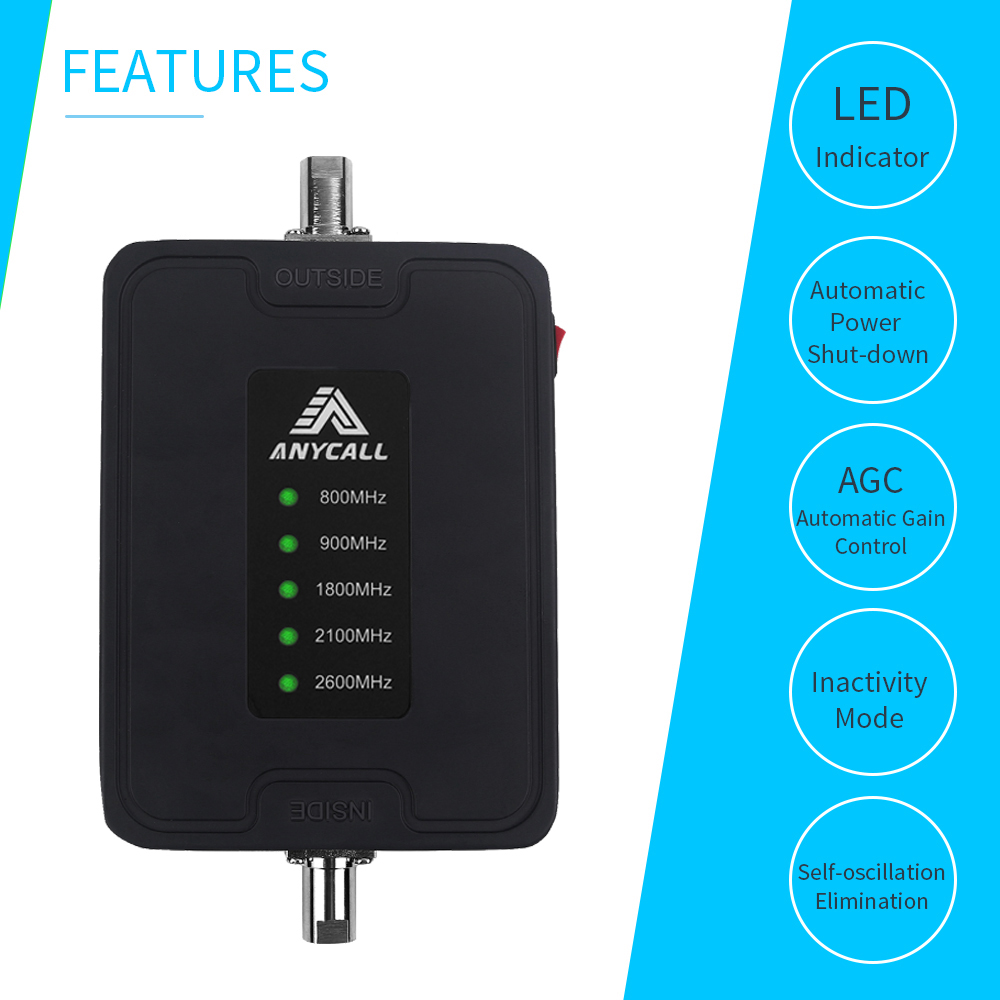 Image 2 - Mobile Cell Phone Signal Booster 800/900/1800/2100/2600MHz 2G 3G 4G LTE Amplifier for Car use 5 Band 45dB Gain Cellular Repeater-in Signal Boosters from Cellphones & Telecommunications