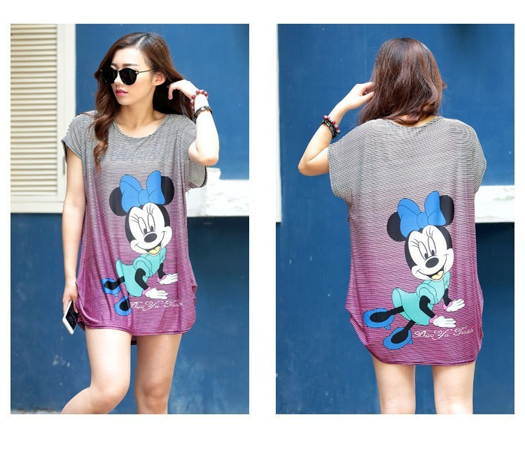 US $10.94 |minnie mouse summer 2018 Fashion Women short sleeve Dresses Plus  Size Dress Loose Novelty Print cartoon casual 5XL tunic-in Dresses from ...