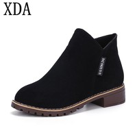XDA 2018 New Fashion Women Martin Boots Autumn Winter Boots Classic Zipper Ankle Boots Grind Arenaceous