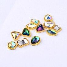 Shiny AB Colorful Glitter Charm Alloy Nail Art Rhinestone Wheel 3d Mix Designs Jewelry Accessories Decorations