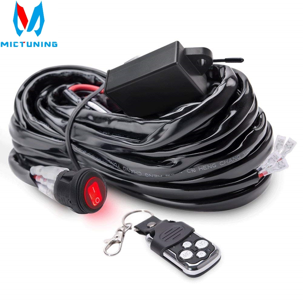 MICTUNING LED Light Bar Wiring Harness 40 Amp Relay Fuse ON-OFF-Strobe Remote Control Waterproof Switch Red 2 Lead