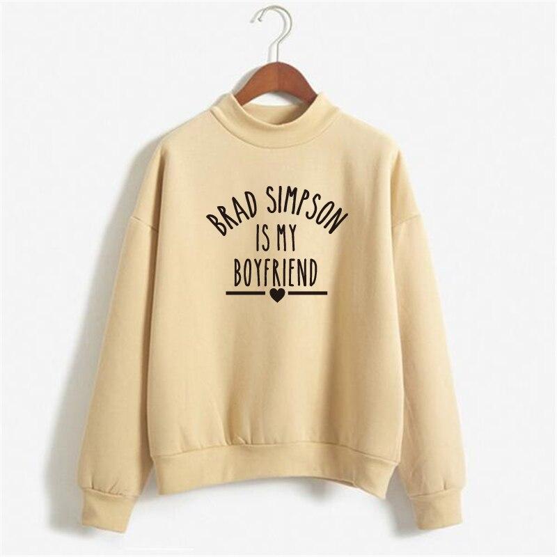 BRAD SIMPSON IS MY BOYFRIEND Sweatshirts Women Print Hoody Letter Printed Pullover Hoodies Women Sweatshirt Casual Long Sleeve