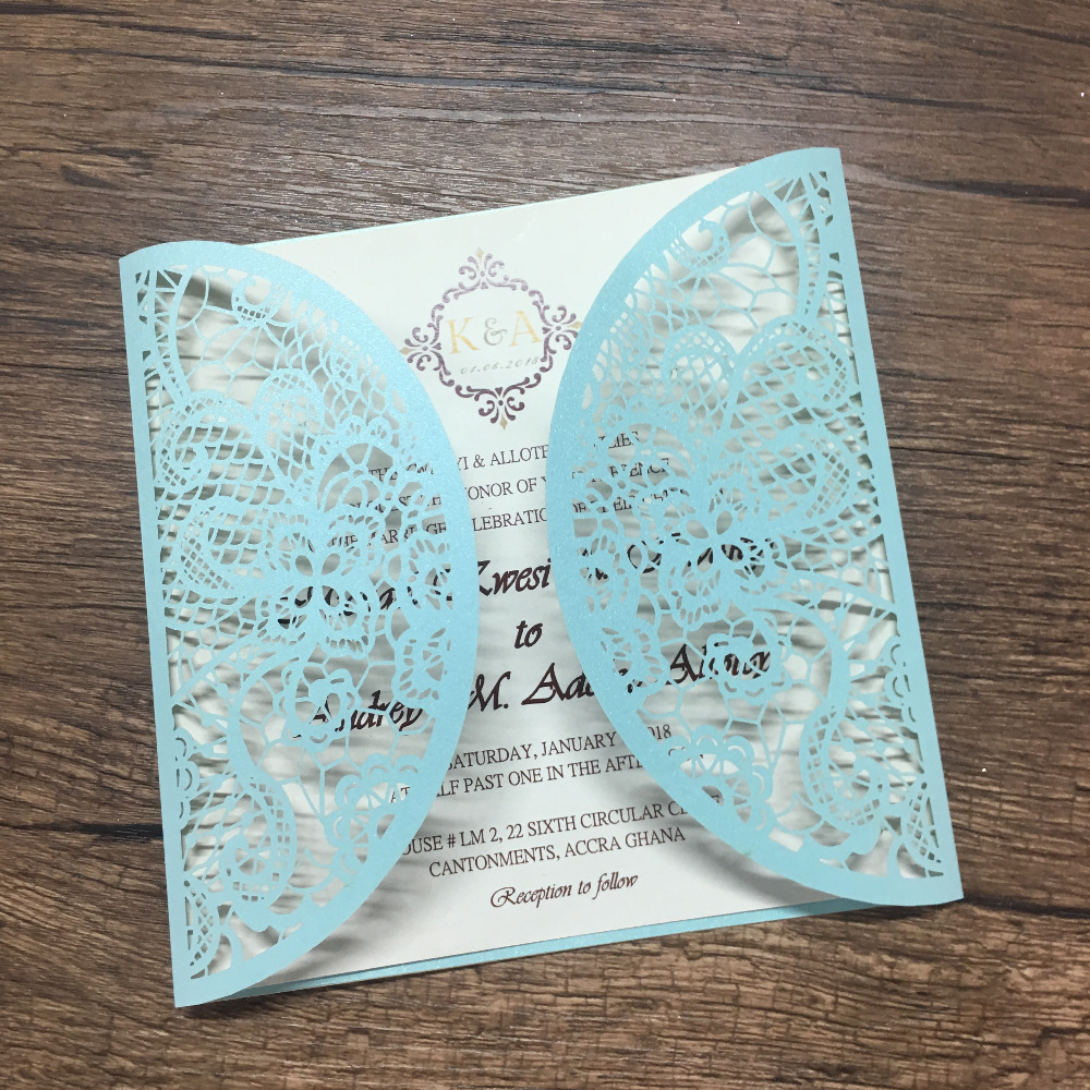 best sell white and blue beautiful printing laser cut invitation card wedding gift paper invitations for sale image