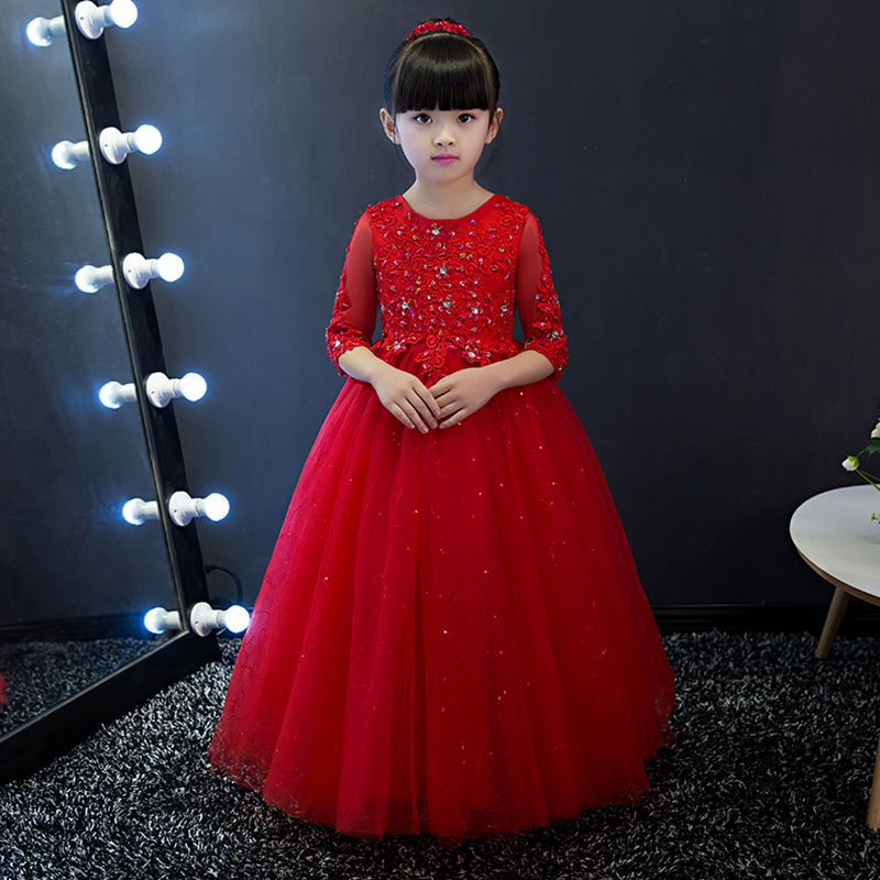 Red Flower Girl Dresses for Wedding Long Ball Gown Holy Communion Dress for Little Girls Kids Pageant Dress for Birthday Costume long sleeve lace flower girl dress for wedding tulle girls pageant dresses little for girls gown ball gown holy communion dress