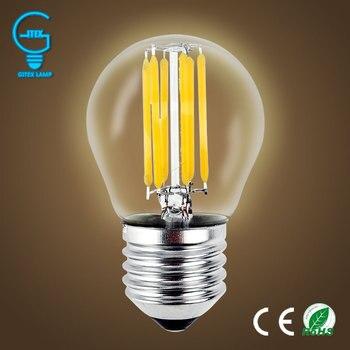 Bombillas de luz LED E27, lámpara de vidrio incandescente regulable G45 bombilla...