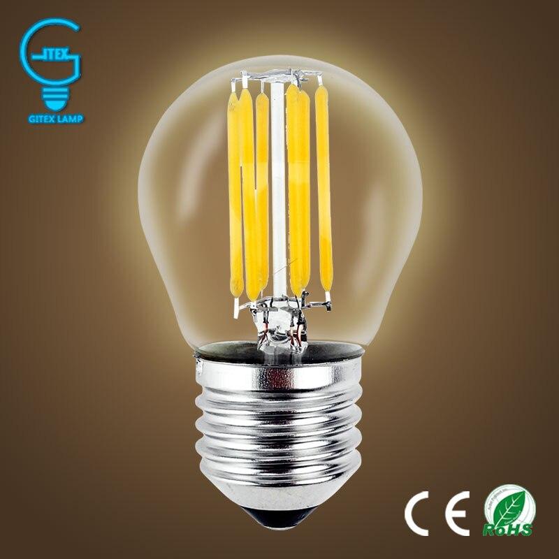 Светодиодный светильник bombilas E27, Диммируемый стеклянный светильник Эдисона G45, светодиодный, лампа накаливания E14 2 Вт 4 Вт 6 Вт, старинная ретро лампа 220 В|e14|e14 led candle bulbe14 candelabra | АлиЭкспресс