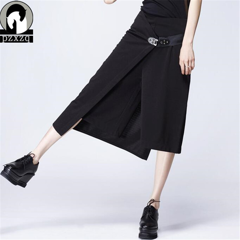 2019 Summer Women Loose   Pants   Calf-length   Pants  +skirt 2set Casual High Waist Elastic   Wide     Leg     Pants   Solid Black Fashion Trousers