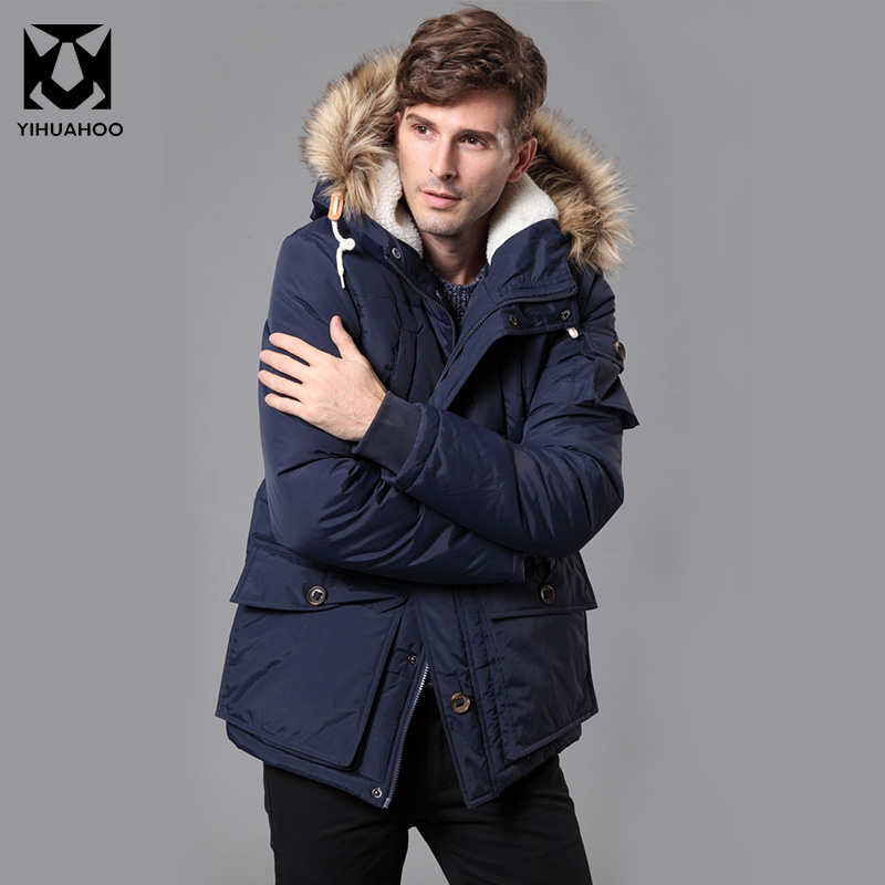 Autumn Winter Jacket Men Thick Casual Men Jackets Faux Fur Collar Hooded Fleece Jacket Warm Parka Coats For Men YB-806