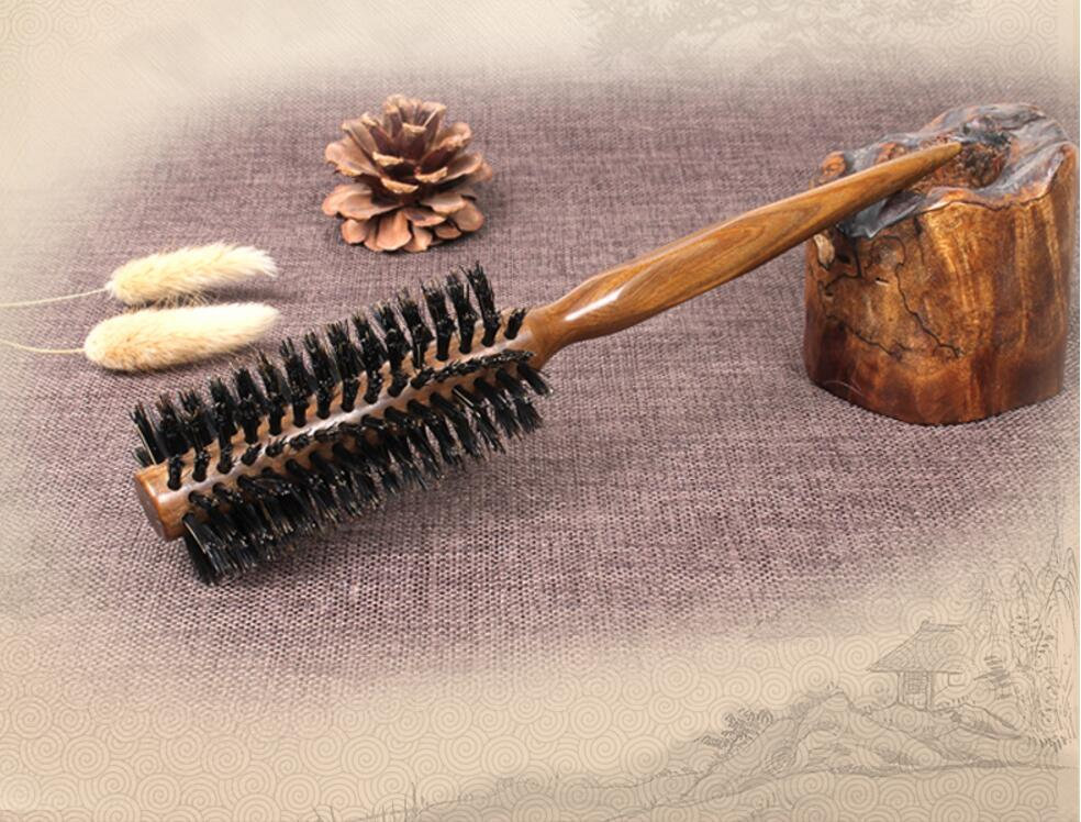 New Wood Handle Natural Boar Bristle Hair Brush Fluffy Comb Hairdressing Barber Tool Scalp Massage 1Pcs Wholesale J19 high quality scalp massage comb 3 color mixed hair hair curls comb send elders the best gifts health care tools