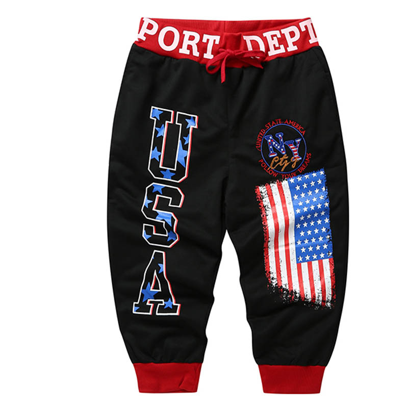 NEW 2018 Summer letters USA printed flag male leisure embroidery pants draw string Hip hop Elastic Waist harem Calf-Length pants