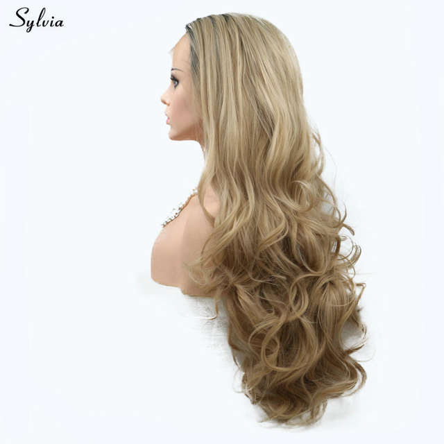 Online Shop Sylvia Natural Wave New Style Blonde Wig Ombre Dark