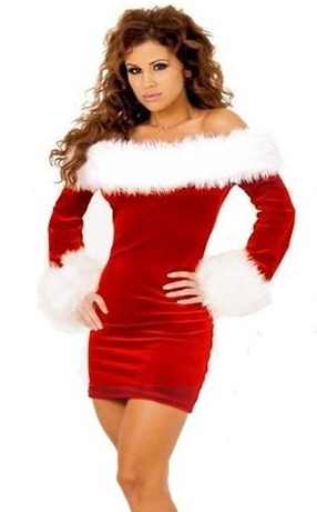 Sexy strapless Slim with hair Red long-sleeved Siamese christmas service AF139 ...