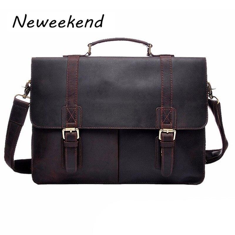 NEWEEKEND Vintage Genuine Leather Crazy Horse 15 Inch Briefcase Meseenger Handbag Crossbody Shoulder Laptop Bag for Man YD-8028