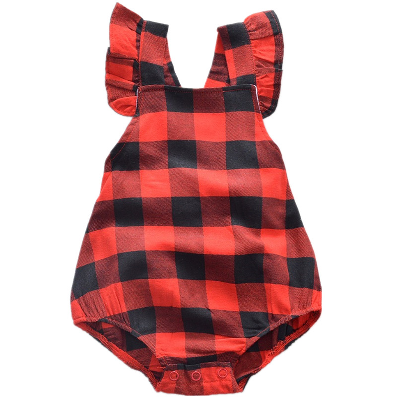 2018 New design girls lace sleeve bow cotton jumpers lovely childrens soft clothing cute infant red plaid climb clothes 17N1120