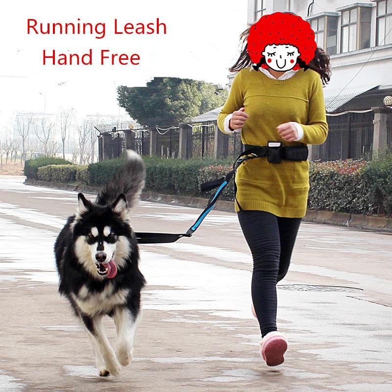 Hand Free Waist Dog Leash Set Running Jogging Padded Waist Belt Strip Elastic Leash Walking Training Dog Leash With Food Bag