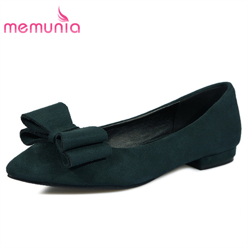 MEMUNIA Women shoes pointed toe flock shallow bowtie ballet flats single shoes fashion elegant solid party shoes four seasons spring autumn solid metal decoration flats shoes fashion women flock pointed toe buckle strap ballet flats size 35 40 k257