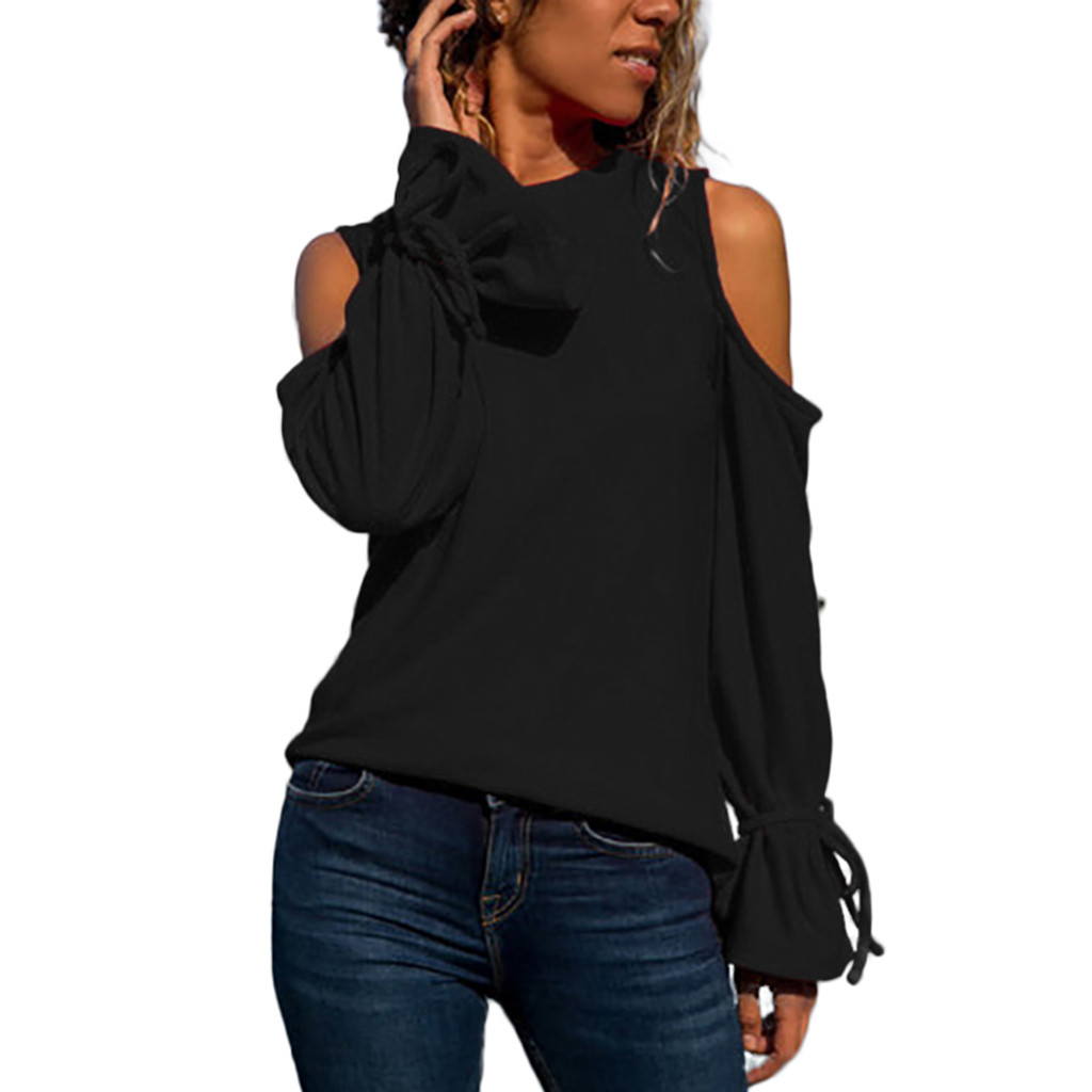 Women   Blouses   Casual Bow Long Sleeve Pullover   Blouse     Shirts     Shirt   Top   Blouse   Womens Clothing Camisas Mujer#XT
