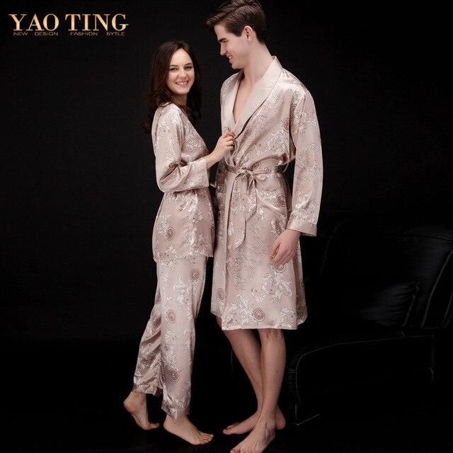 New Dragon Pattern Satin Pajama set Sexy Nightgown Lover's Robe Imitation Silk Women And Man Bathrobe Dressing Gown man pajama