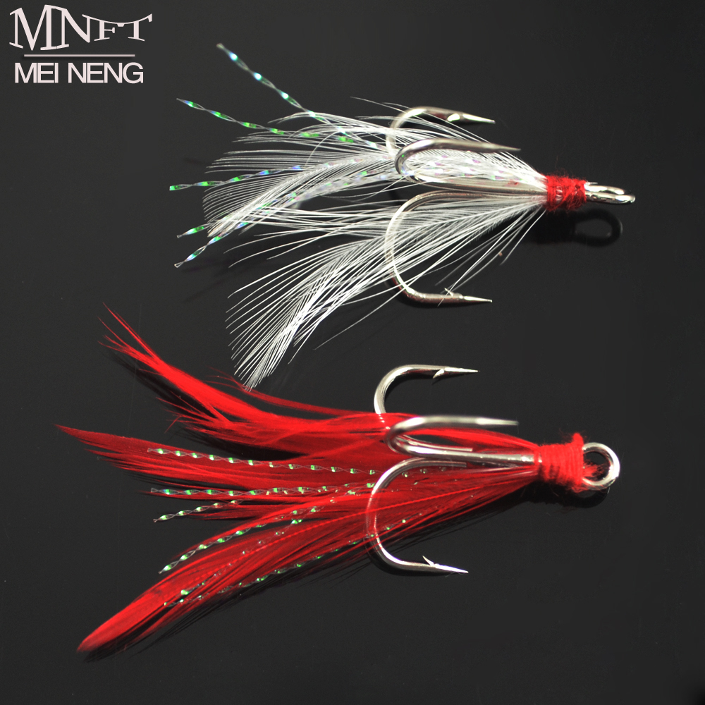 MNFT 10PCS Three Hook Fish Fly Lure Bulk Feather Treble Hooks Bait Can Be Assembled Paillette Fishhook Red White Plumage 4 6# витрина хлебобулочная three can pc sn85206 10 sn85306