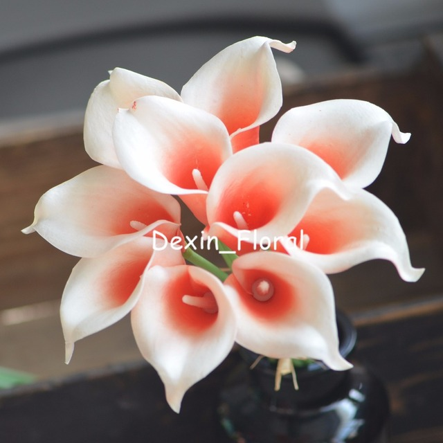 Coral Picasso Calla Lilies Real Touch Flowers For Silk Wedding