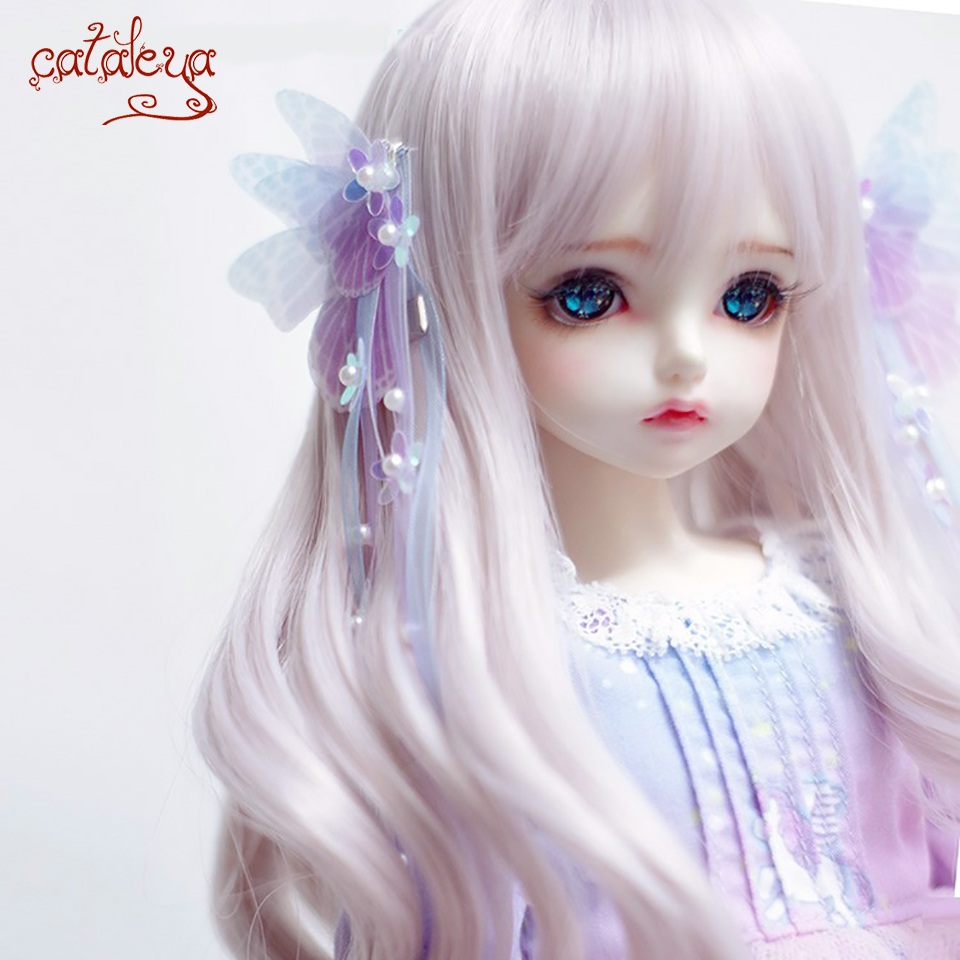 Cataleya BJD Doll  Wig 1/3 1/4 1/6 1/8 High Temperature Silk Gray Pink Mixed Color Long Curly Hair