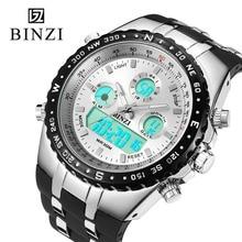 Nuevo Reloj Militar Hombres Led Impermeable Reloj Deportivo Para Hombre de Cuarzo Relogio masculino Relojes Back Light Al Aire Libre Digital BINZI
