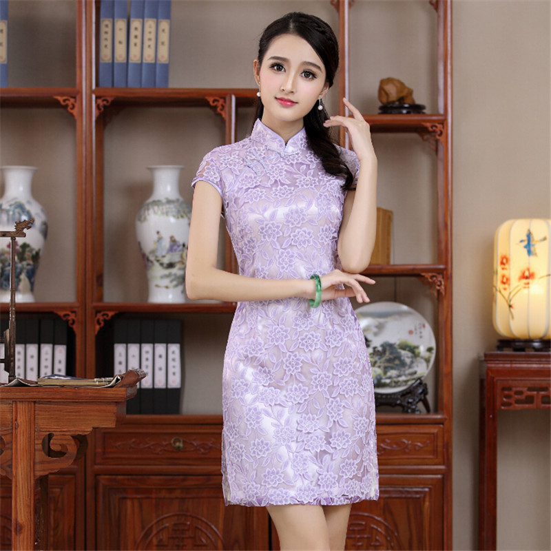 Shanghai Story Traditional Chinese Clothing Women's Lace Cheong-sam Mini Qipao Dress Flower Embroidery Cheongsam