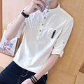 Spring and autumn Mens Long sleeve shirt shirt sleeve head Korean cultivating pure cotton white dress male teenagers