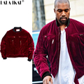 Velvet Jackets Yeezy TOUR Kanye Yeezy3 Jackets Men Velvet Wine Red Thick Jackets Men Yeezus Brand Winter Bomber Coats SMC0524-5