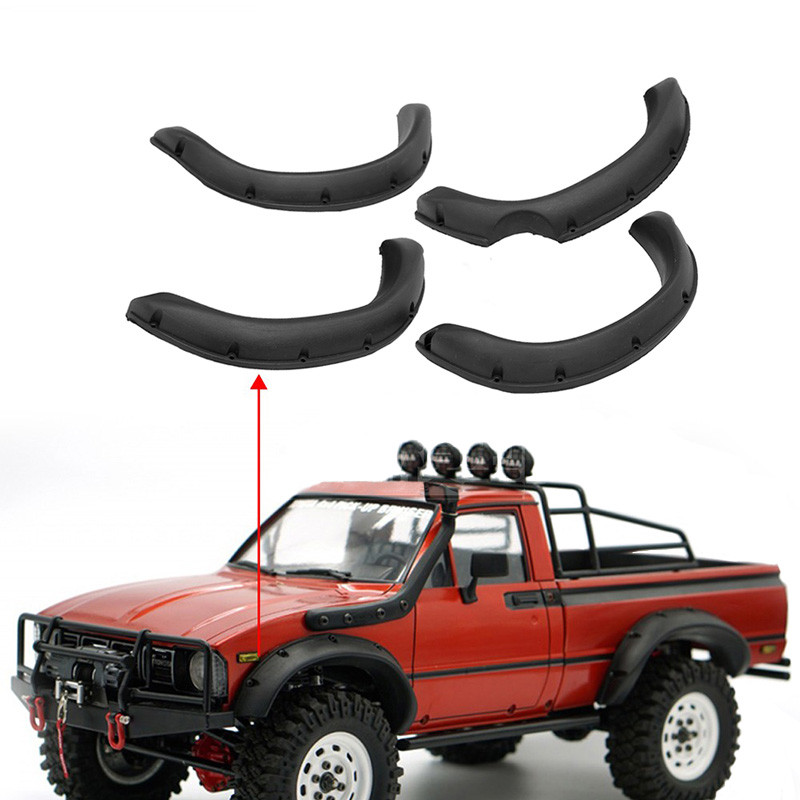 4pcs Rubber Fender Flares Prevent Scratch Widening Wheel Eyebrow For 1:10 Tamiya RC4WD TF2 Mojave Hilux RC Crawler Car Body Part(China)