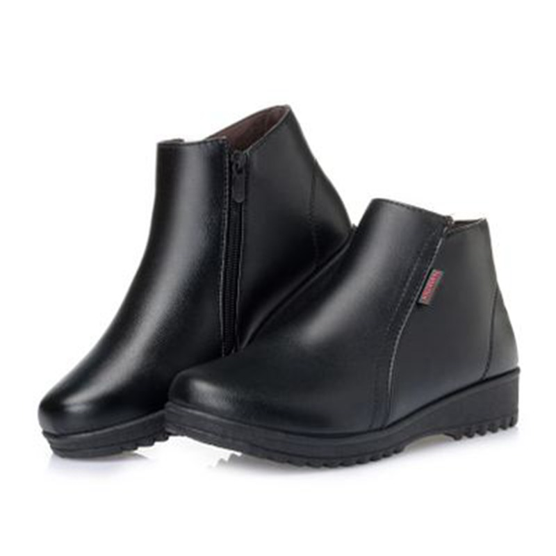 Mujer Cuero Botas Mujeres Cuñas Nieve De Plana Botines Moda Zzpohe Zapatos  Black Cómodo Madre brown Invierno Auténtico Casual Antideslizante fgt6WqqXO f7af81a93b33
