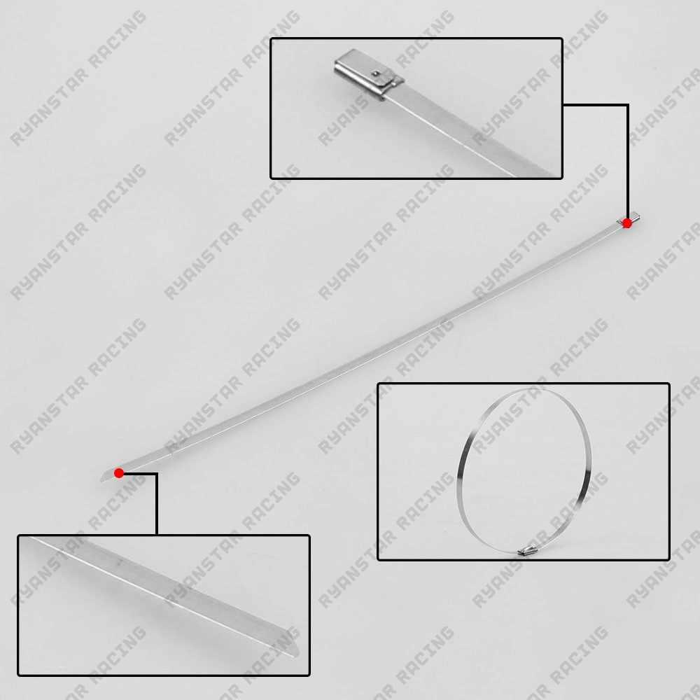 Ryanstar-yüksek kalite 100 adet 4.6mm x 300mm kendinden kilitleme paslanmaz çelik Zip kablo bağı kilit kravat sarma EX009