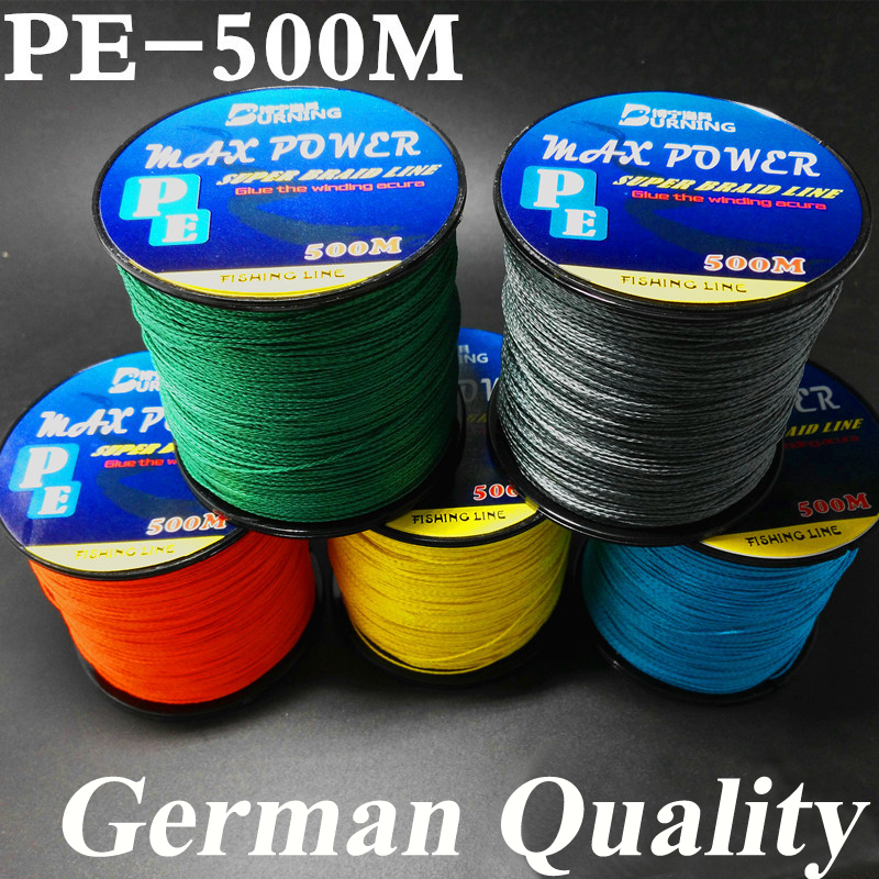 5 Color Germen Quality Max Power Series 500m 4 Strands Super Strong Japoni Multifilament Linjë PE e lidhur me Peshkimë