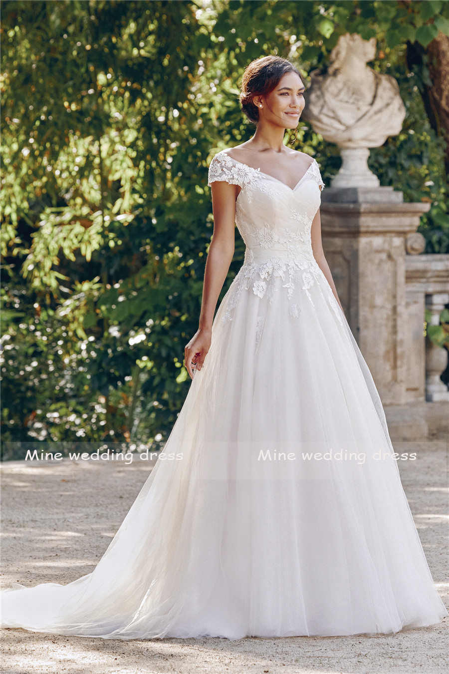 Off the Shoulder Ball Gown with Ruched Bodice Embroidered Lace V-neck Wedding Dress Illusion Back with Button Bridal Gown