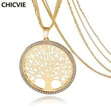 Chicvie Золотое круглое ожерелье с подвеской в виде дерева длинное