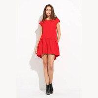 Summer Dress Women Sweet Fresh Before Long Back Short Irregular Loose O Neck Solid Pleated A