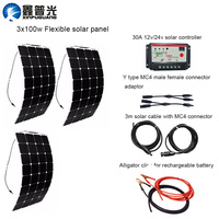 300W DIY Kits Solar System 3pcs 100W flexible solar panel 30A red solar controller 3m MC4 wire red black cables clips