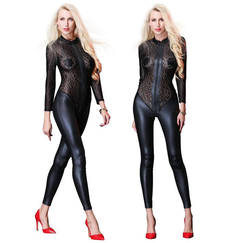 Sexy Mesh PU Jumpsuit For Women Faux Leather Bodysuit Zipper Open Crotch Erotic Latex Catsuits Night Culb Dance Wear