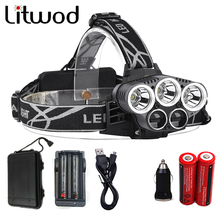 Litwod Z302309A 15000lm Led Head Lamp 3T6+2LST Alu-alloy Body Headlamp Headlight 6 Mode Head Light 18650+USB+Charge+Box+MINI Car