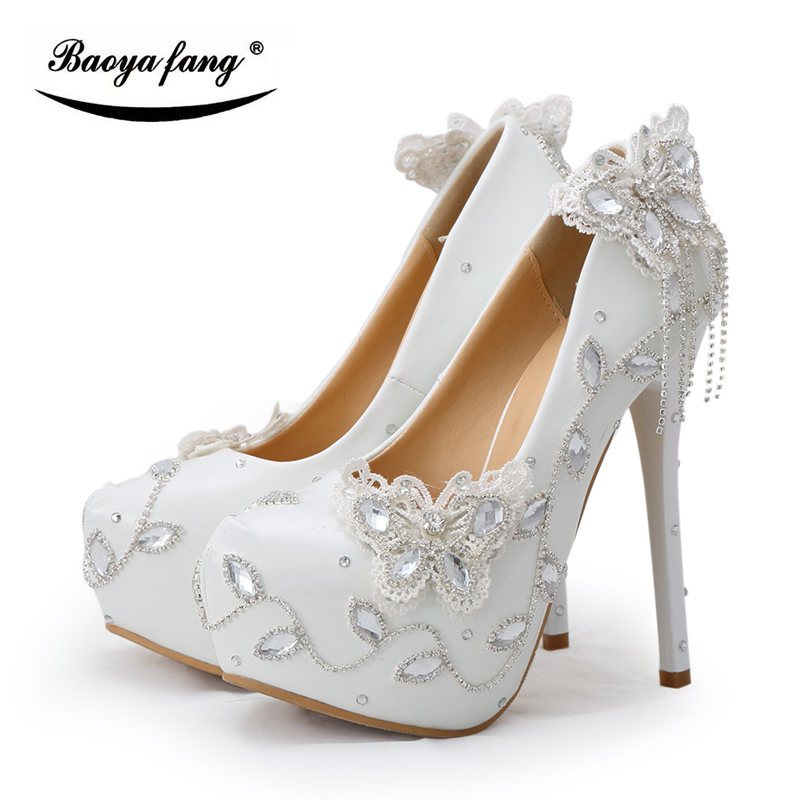 BaoYaFang white and Red Womens wedding shoes Bowknot Bride High heels platform shoes Round toe big size female shoes woman Pumps baoyafang red crystal womens wedding shoes with matching bags bride high heels platform shoes and purse sets woman high shoes