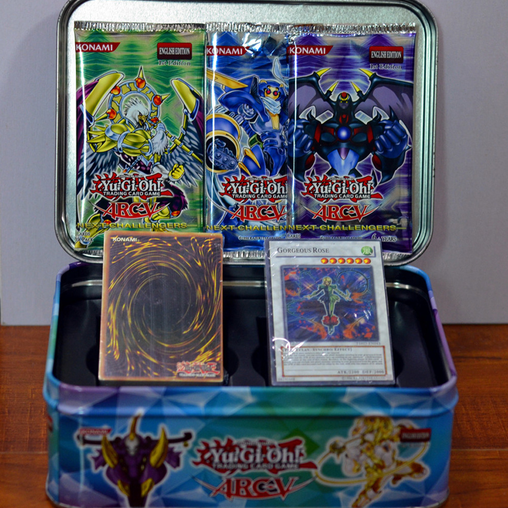 109PCS Yu Gi Oh Game Cards Metal Box Cartoon Yugioh Play Cards Japan Boy Girls Yu-Gi-Oh Cards Collection Fun Toys