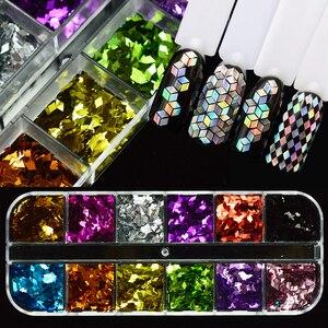 Image 3 - 1 Juego de copos de brillantina para uñas, polvo de lentejuelas AB, lentejuela holográfica, triángulo rombo 3D, diseño fino decoración de pulido JIG04