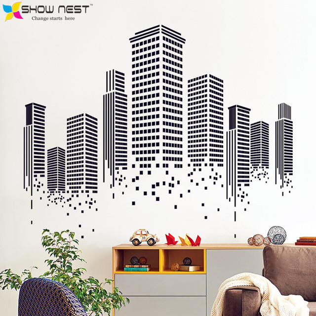 Urban Agglomeration Wall Decal   Modern Architectural Art Wallpaper    Fashion Home Decorative Mural Stickers