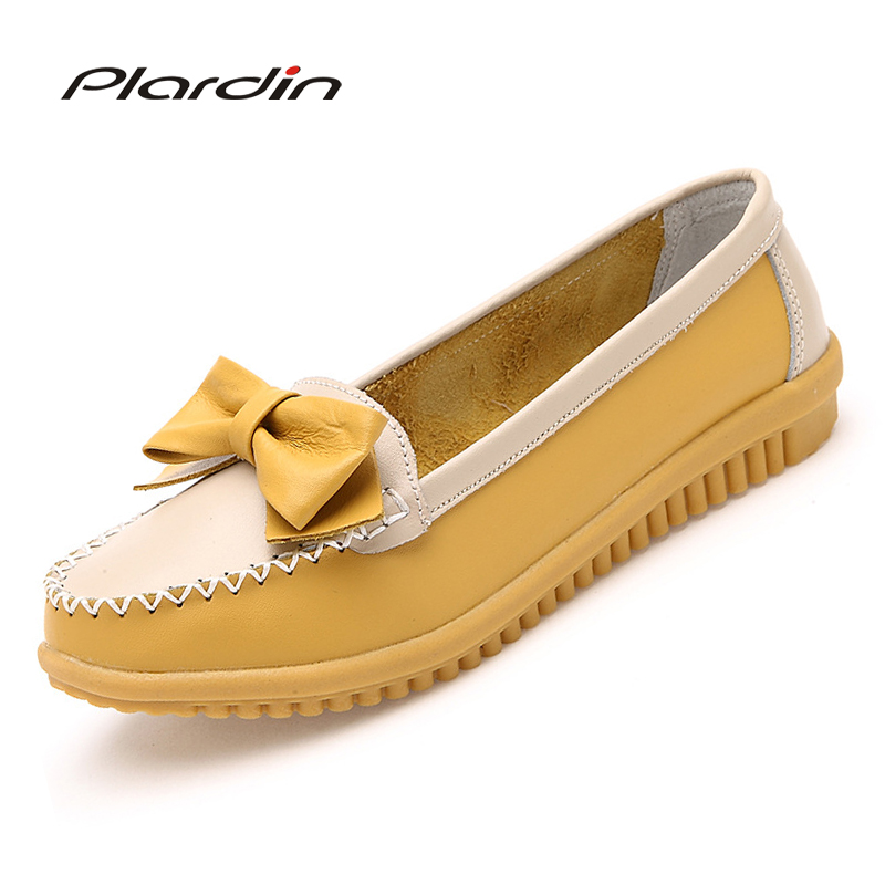 plardin New Women Flat New Fashion Genuine Leather Women Shoes Woman Round Toe Slip On Bowtie Sweet Style Leisure Flats Shoe spring summer women leather flat shoes 2017 sweet bowtie flats women shoes pointed toe slip on ladies shoes low heel shoes pink