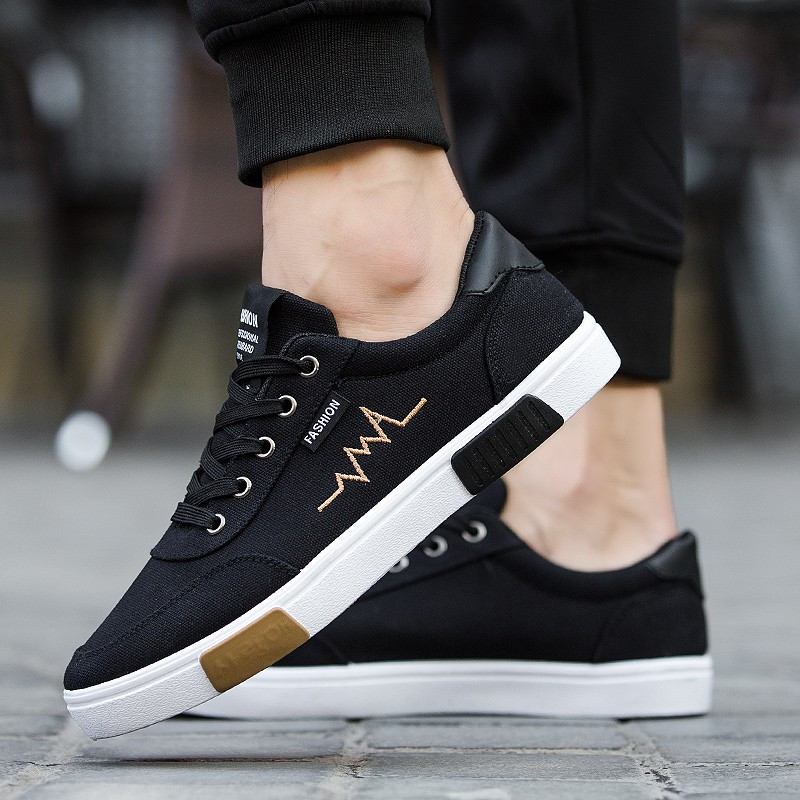 New Spring Summer Canvas Shoes Men Sneakers Low Top Black Shoes Men's Casual  Shoes Male Brand